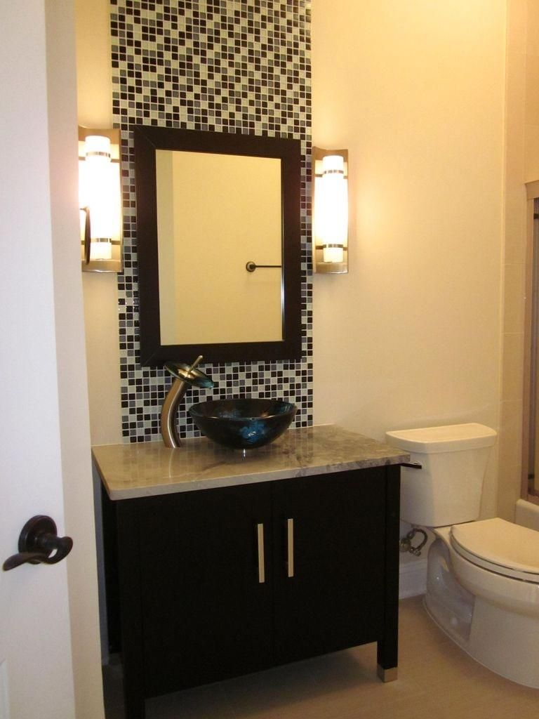 Bathroom, Private Residence Black White Bathroom Accent Wall Tiles ...