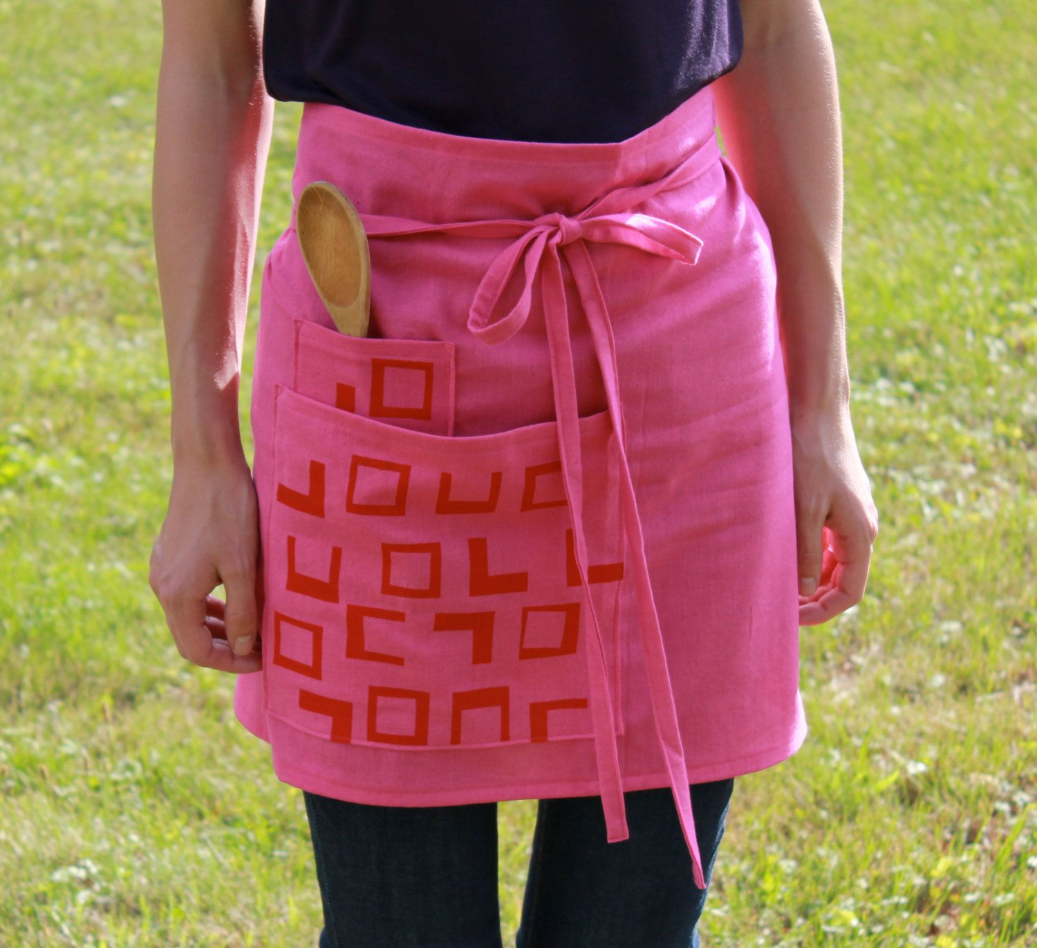 screen printed cafe apron - hot pink | cafe apron and apron