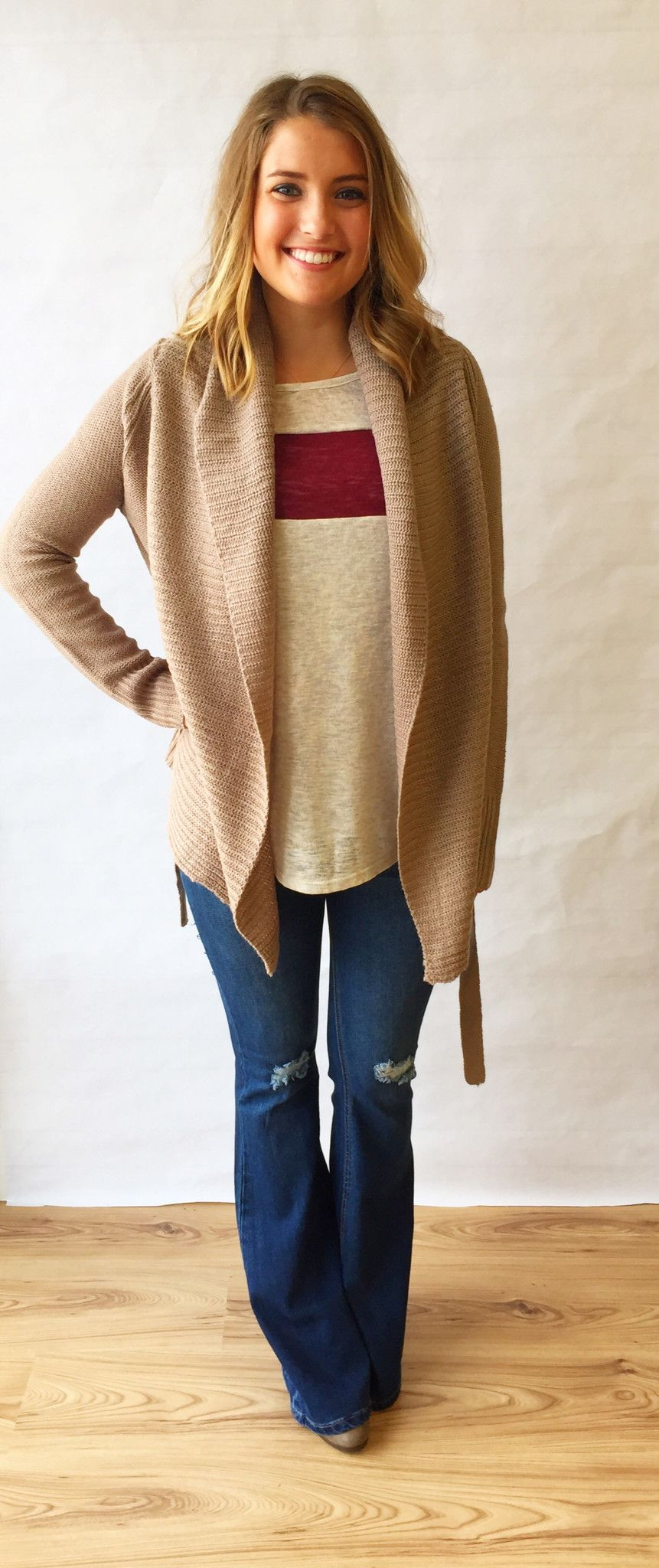 Oatmeal and Wine Color Knit Top - The Style Bar Boutique  - 4