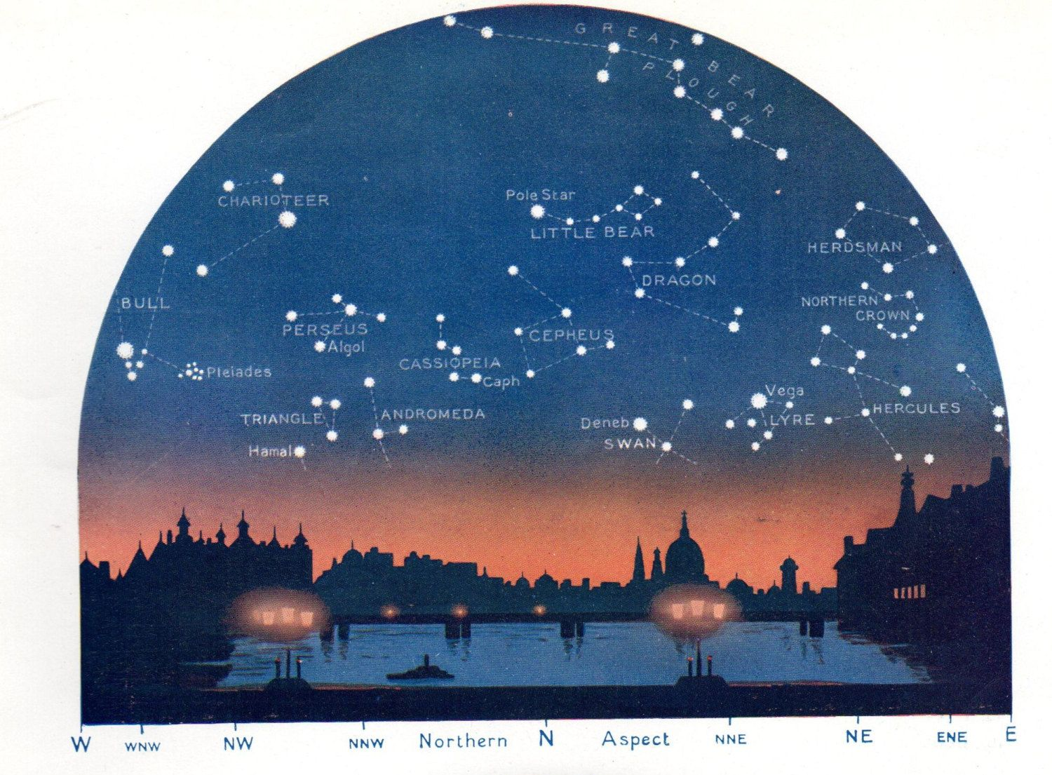 Antique astronomy print showing The Stars for March, looking North and South, from Westminster Bridge, London. Printed in 1931   https://img1.etsystatic.com/041/0/8164940/il_fullxfull.582851033_d6qr.jpg