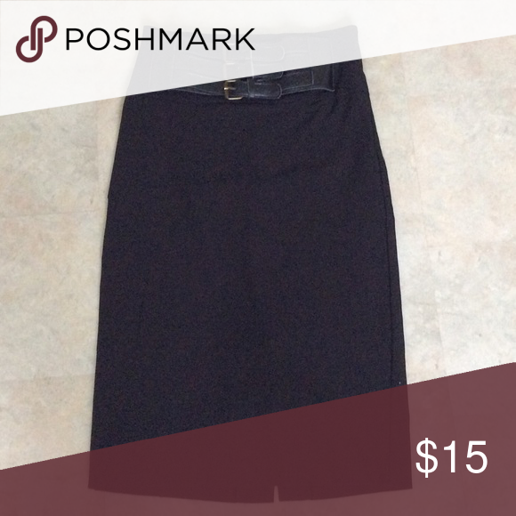 Black pencil skirt attached belt Tight fitting black pencil skirt with attached black belt. Forever 21 Skirts Pencil