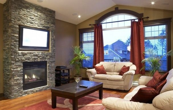 Living Room Pleasant Decorating Ideas For Family With Stone Fireplace And TV Stand Magnificent Design On Opposite