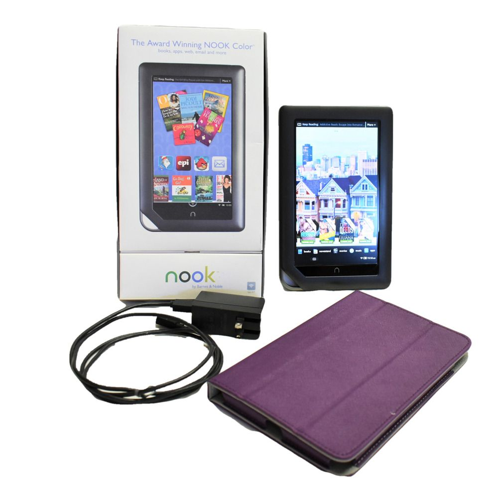 Barnes noble nook color bnrv 200 8gb wifi 7in charger