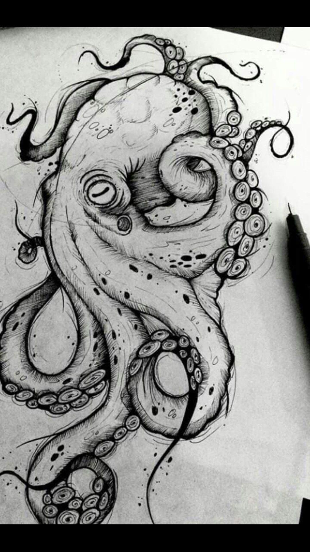 Photo of Octopus Zeichnung Octopus Tattoo Octopus Schwarz-Weiß Zeichnung Meeresboden, #weiß #Dese …