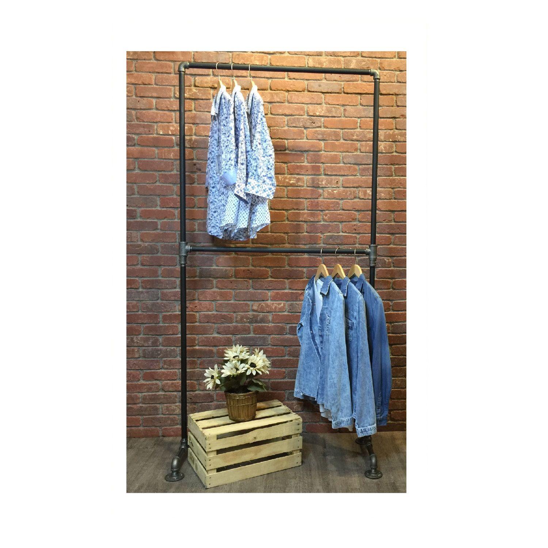 Clothes rack double rail clothing rack garment rack industrial
