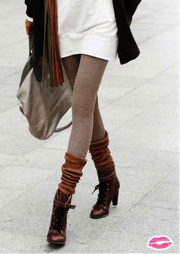 2136cc07ff9 Lace up ankle boots paired with scrunched knee high socks and light brown  leggings! If