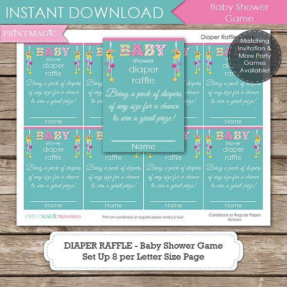 Moon U0026 Stars Diaper Raffle Baby Shower Game Instant By Printmagic