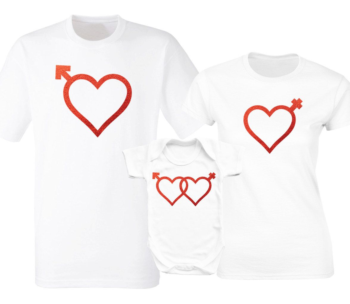 Valentine S Day Family Matching White T Shirts And Baby Grow Set