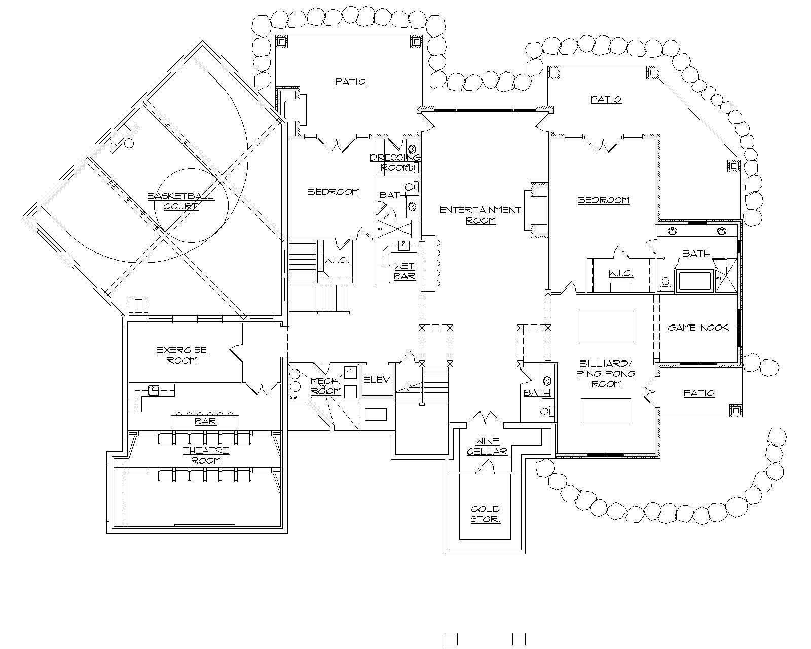 Floor Plan With Basketball Court In This Mountain Luxury Home Indoor Basketball Court Floor Plans House Floor Plans