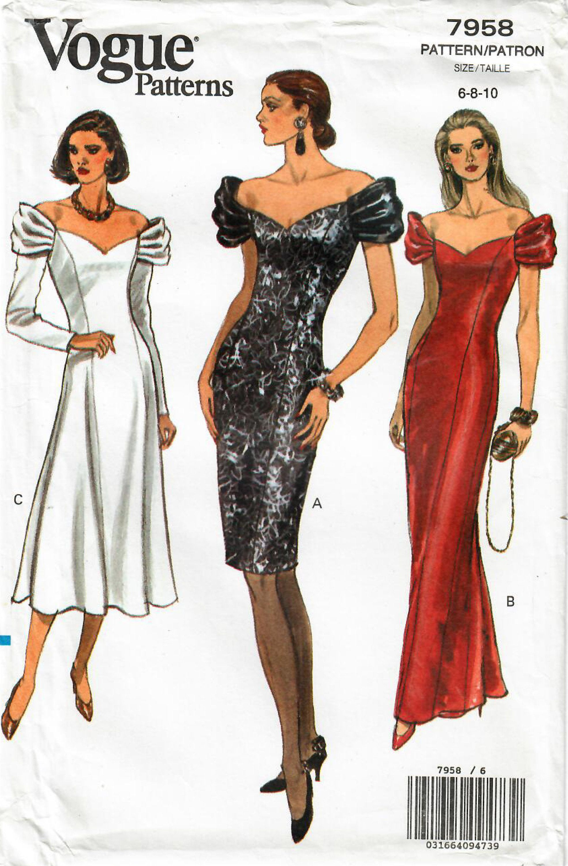 1990s Vogue 7958 Uncut Vintage Sewing Pattern Misses Off Etsy Off Shoulder Fashion Womens Sleeveless Dress Evening Dress Sewing Patterns [ 3000 x 1969 Pixel ]