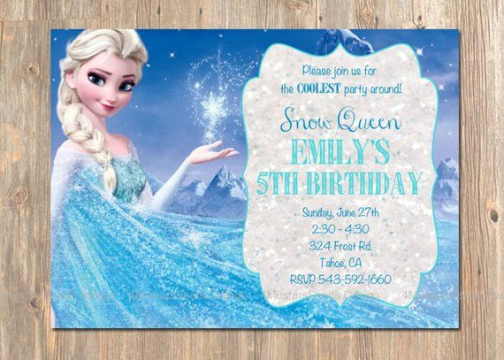 photo about Printable Frozen Birthday Card named Frozen Birthday Invitation, Elsa Frozen Invitation