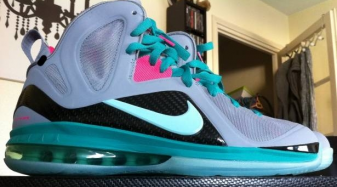 sale retailer f2378 612d2 Nike LeBron 9 Elite - Wolf Grey Mint Candy-New Green Pink Flash