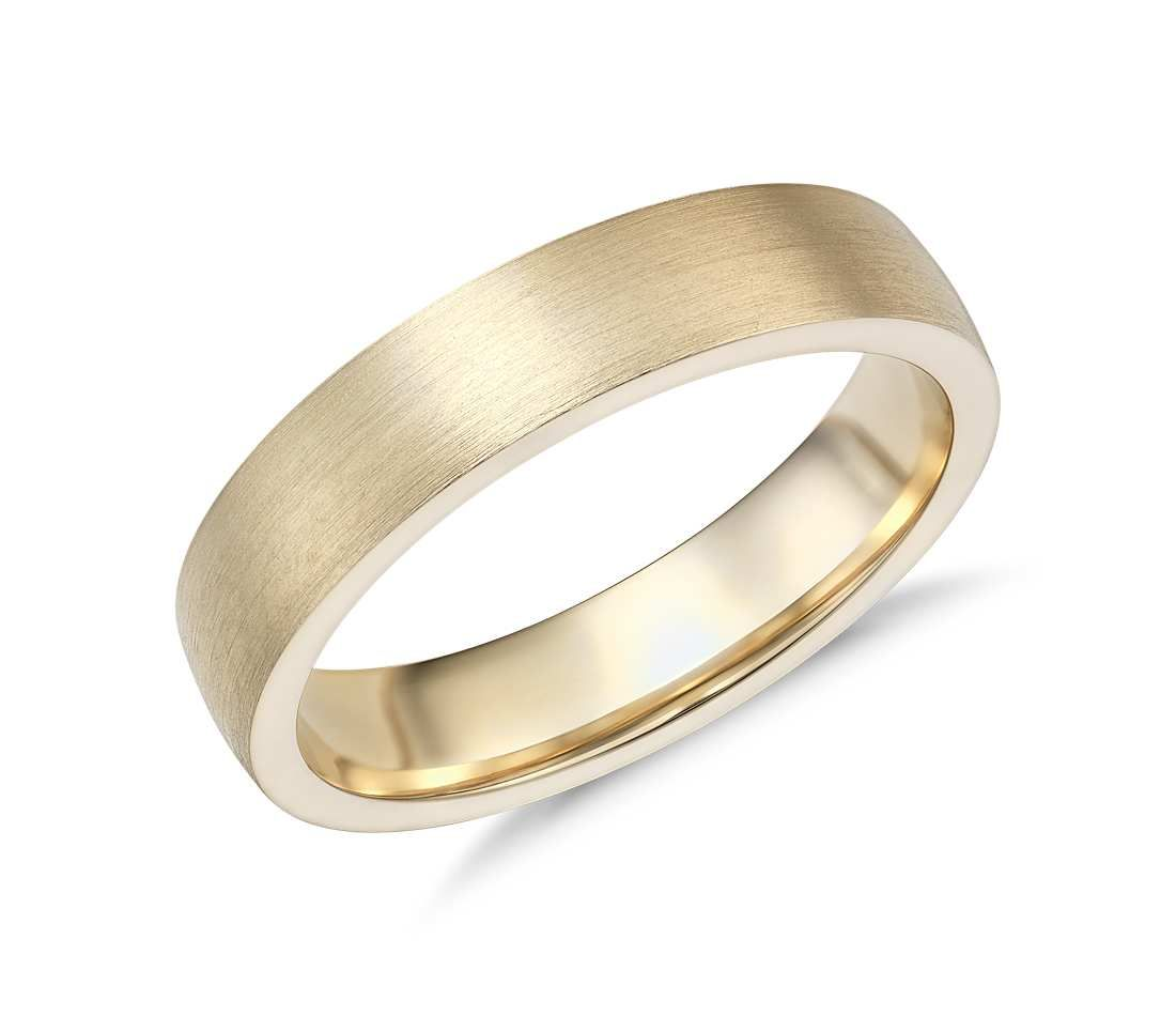 matte low dome comfort fit wedding ring in 14k yellow gold (5mm