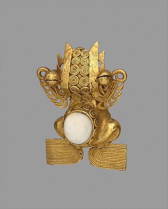 Frog Pendant    Date:      12th–14th century  Geography:      Panama, Azuero Peninsula, Rio Parita region  Culture:      Parita  Medium:      Gold, tooth inlay  Dimensions:      H. 2 1/2 x W. 2 x D. 1 1/8 in. (6.4 x 5.1 x 2.8 cm)  Classification:      Metal-Ornaments
