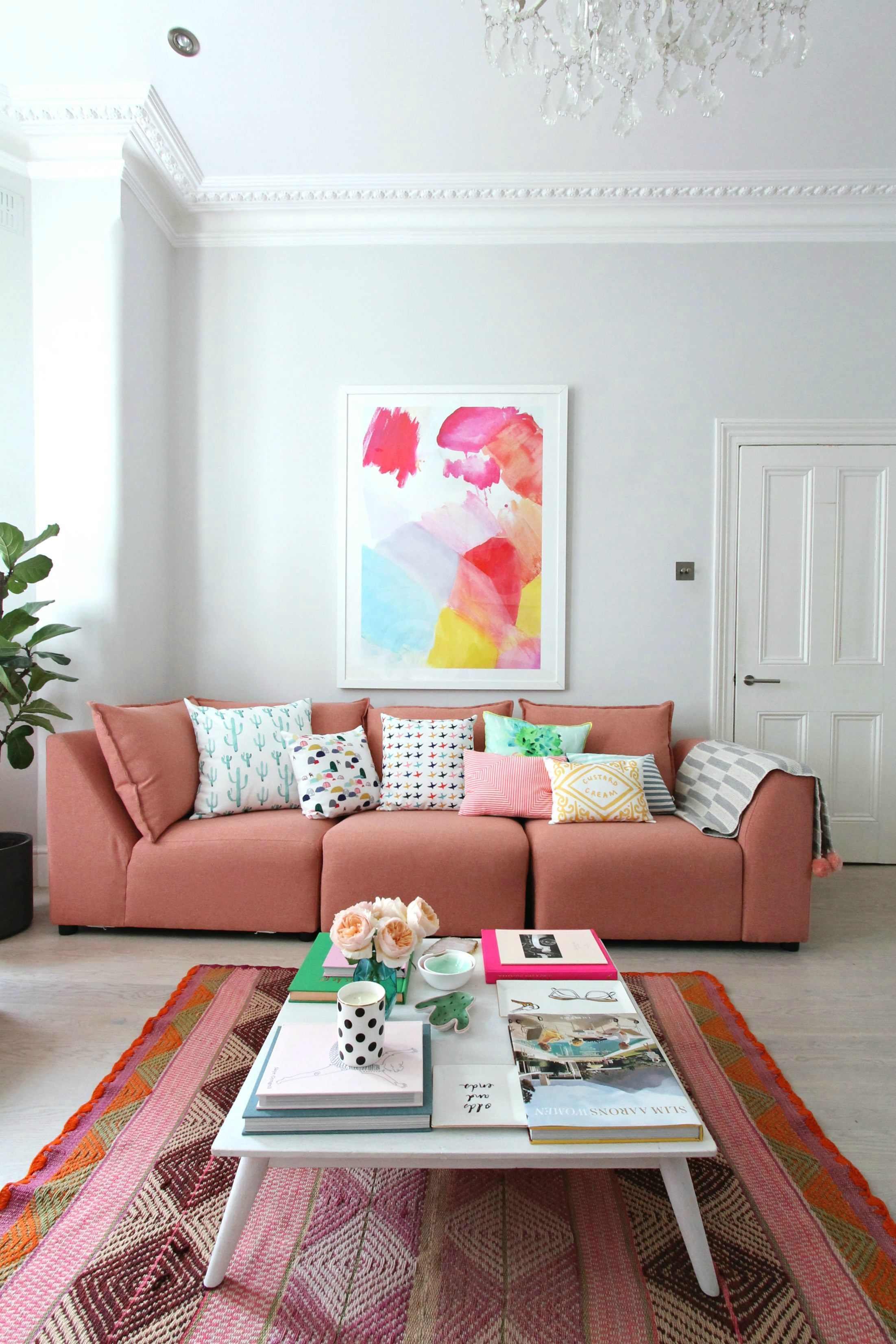 1f7004d3a6a How to style a pink sofa. My coral pink sofa from dfs | PILLOWS ...
