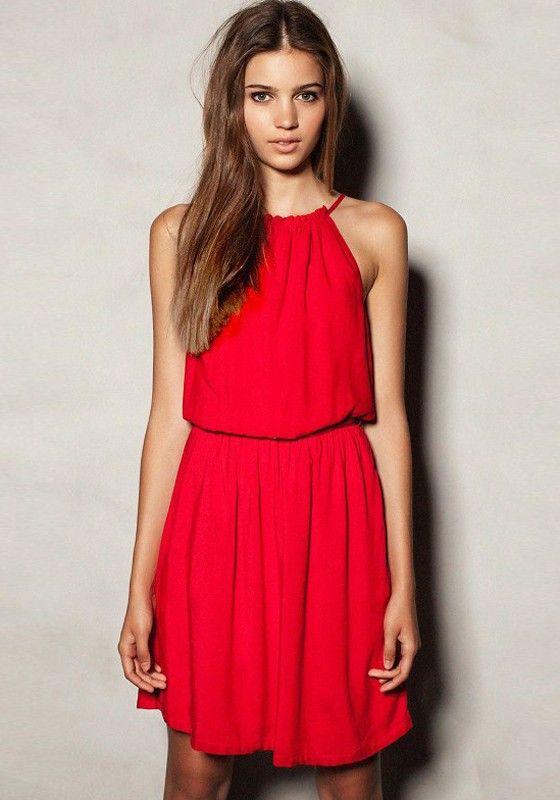 285c1be95 Vestido llano de cuello redondo sin mangas dacrón rojo