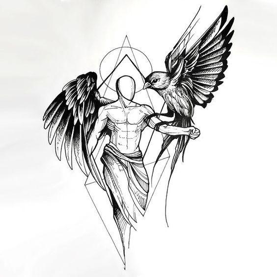 sketch style angel with bird tattoo design tattoo ideas