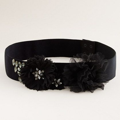 Jeweled elastic flower belt