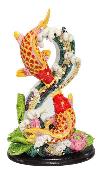 Amazon Com Feng Shui Shape 8 Double Carps Koi Fish In Lotus Pond Statues Figurine Wealth Lucky Figurine Home Decor Gift Us Sel Feng Shui Decor Gifts Koi Fish