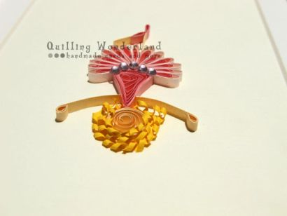 Tutu Girl - quilling picture with pink stick person/girl and siny gems
