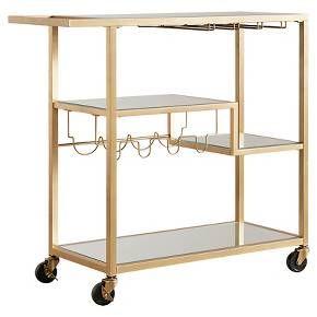 Estelle Step Tier Metal And Glass Bar Cart Champagne Gold Inspire Q Gold Bar Cart Bar Furniture Bar Cart Decor