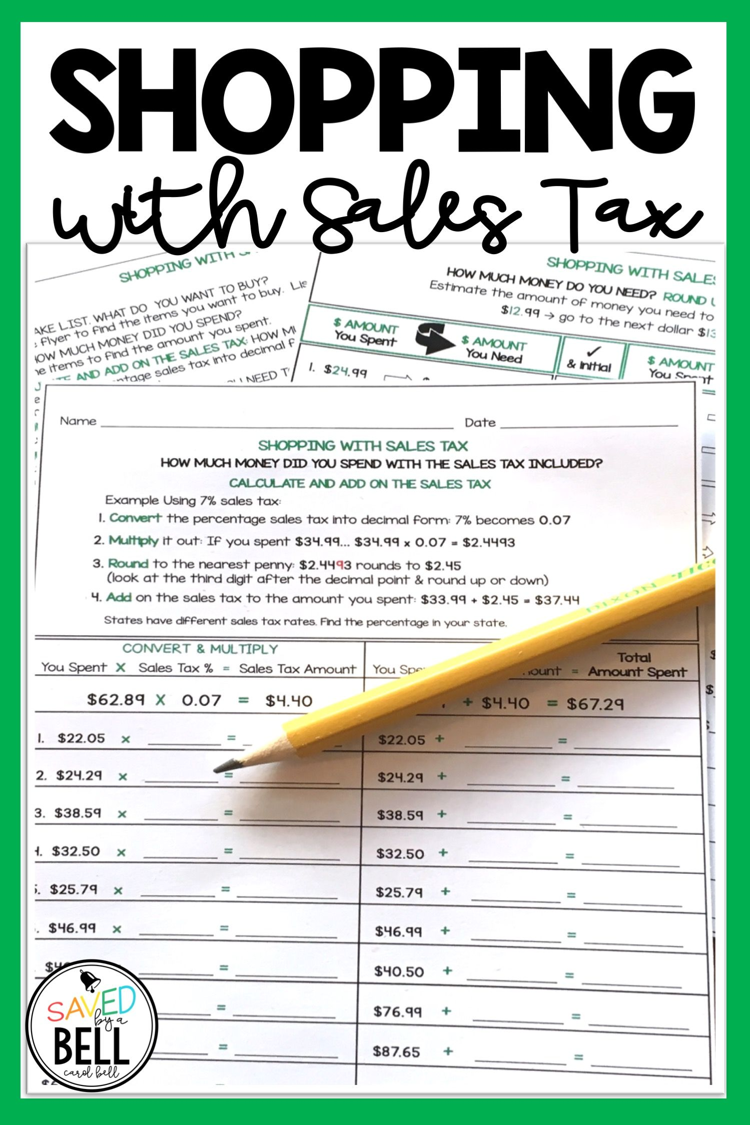 Sales Tax Worksheets Distance Learning With Images Real Life