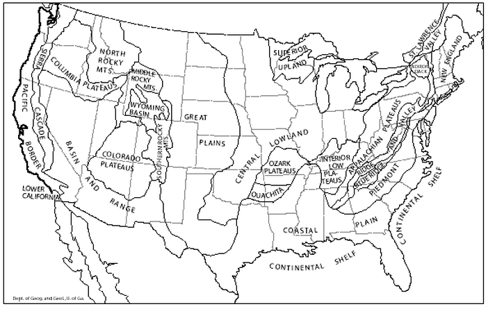 Geographic Map Of The US GEOGRAPHY US Maps Geography - Black and white map of western us