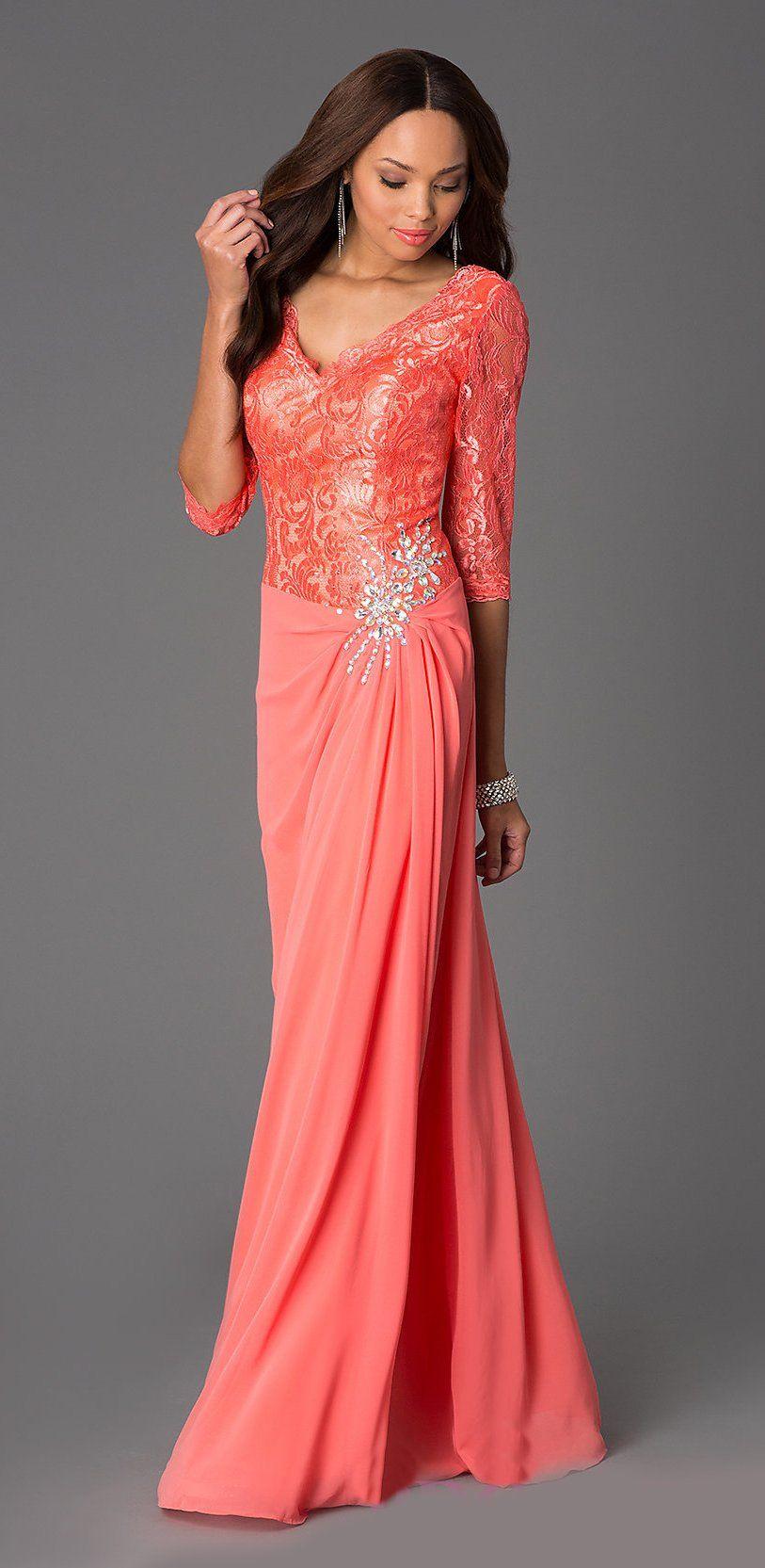 94445429ac1 V Neck Long Floor Length A Line Coral Thanksgiving Dress  224.99 ...