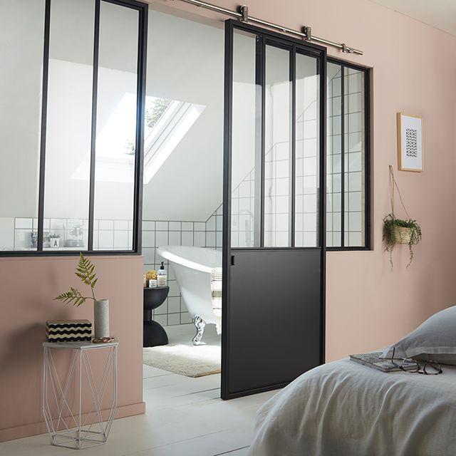 porte coulissante en acier vitr e atelier noir 83 cm castorama acier et seule. Black Bedroom Furniture Sets. Home Design Ideas