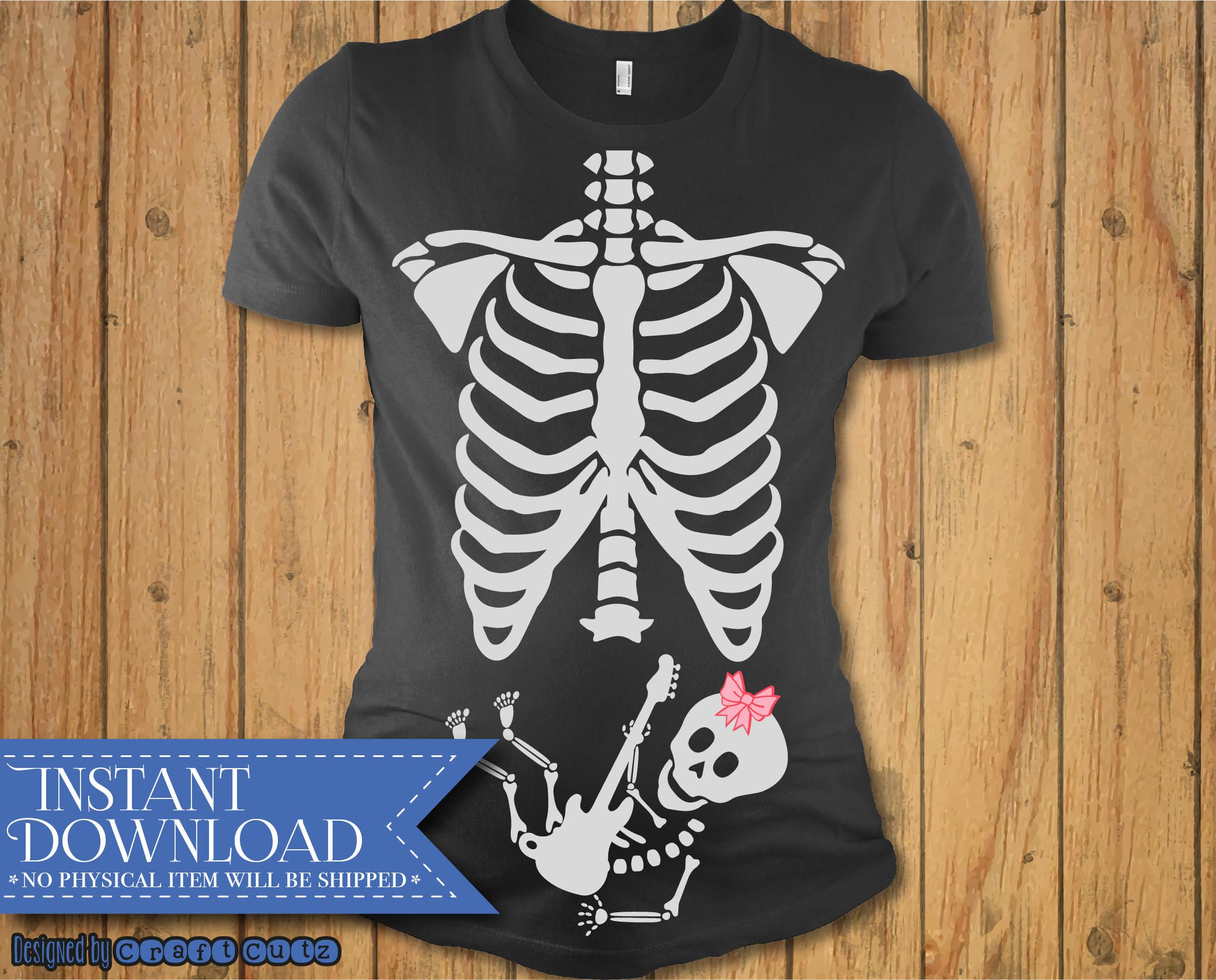Xray Maternity Rock Star SVG, Baby Skeleton with Guitar