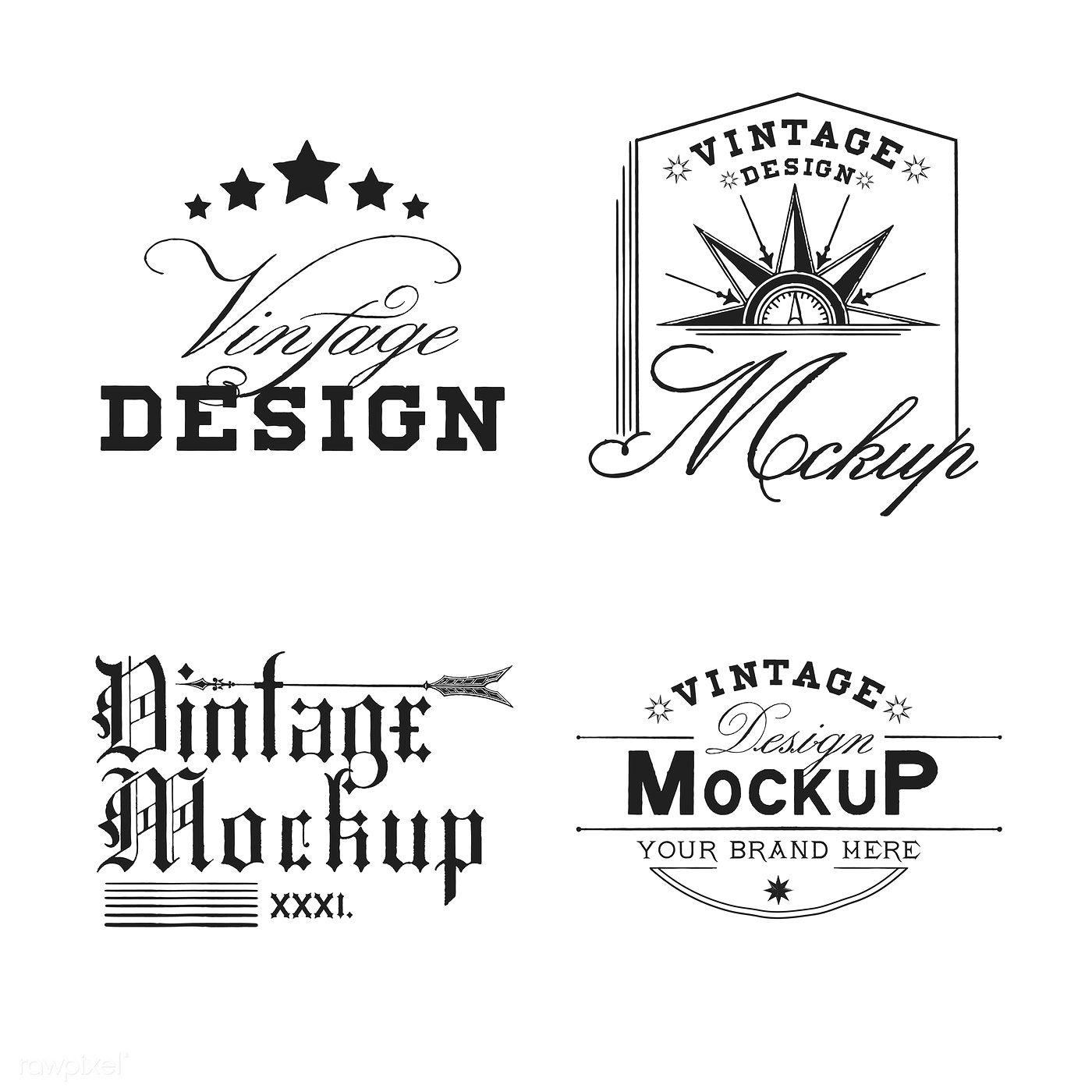 Set of vintage mockup logo design vector free image by