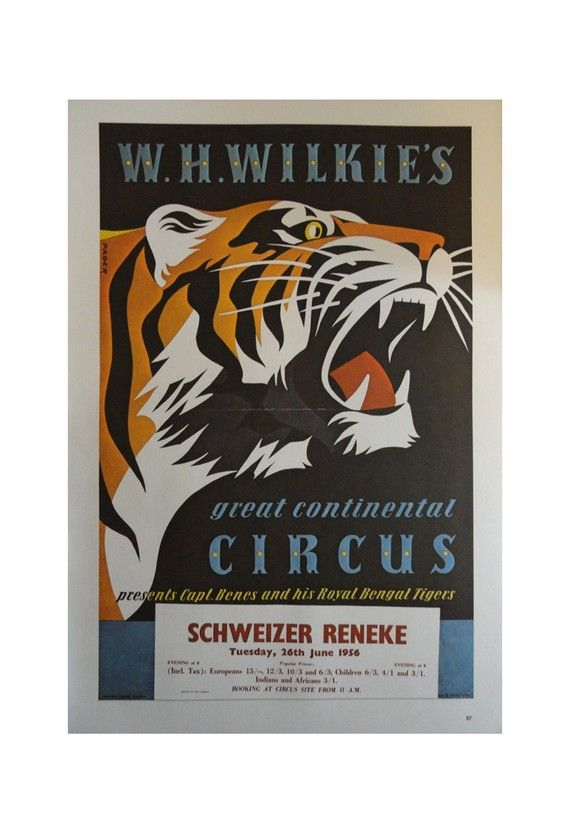 Vintage Circus Poster, W.H Wilkie's Circus Gian Tiger, Soviet Circus Gymnastics Act Woman, Print,  Jack Rennert, Printed In America
