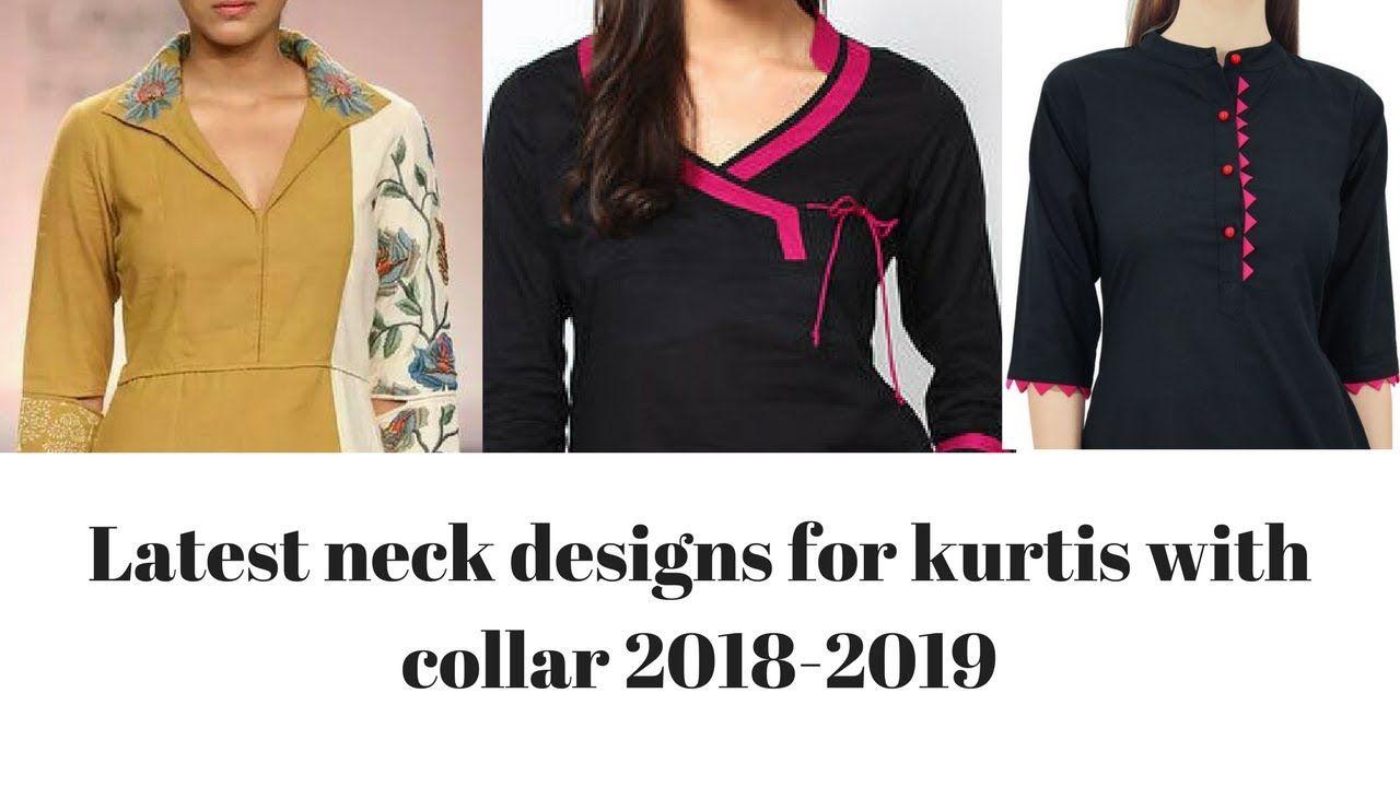 Latest Neck Designs For Kurti Kurta With Collar 2018 2019 Neck Design Neck Designs Kurti Neck Designs Indian Fashion Trends