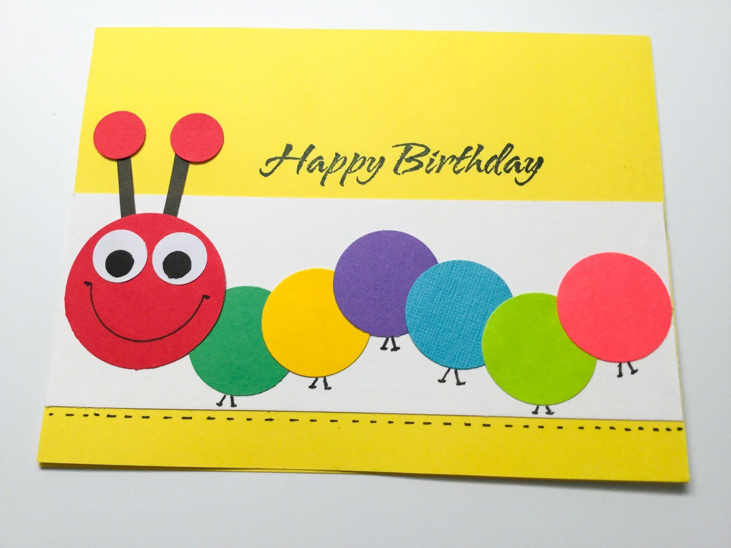 Child birthday card caterpillar card centipede cards boys