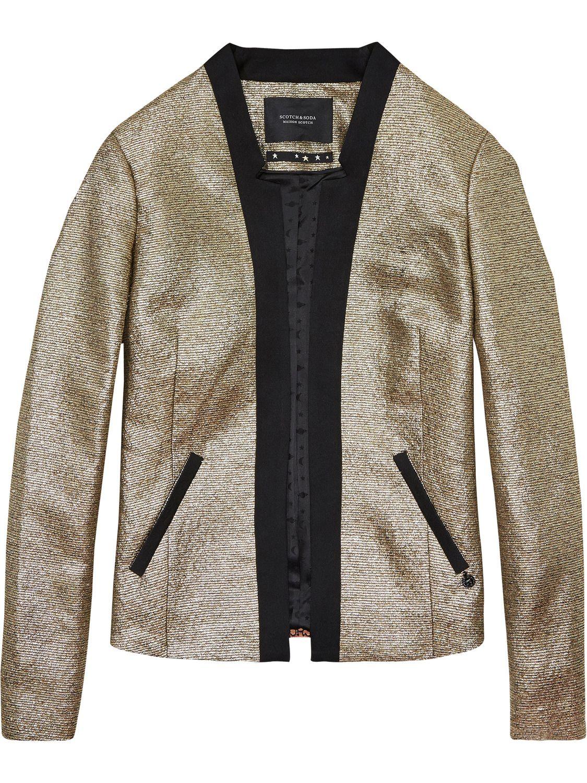 12. Skinny red paty jeans + metallic blazer.