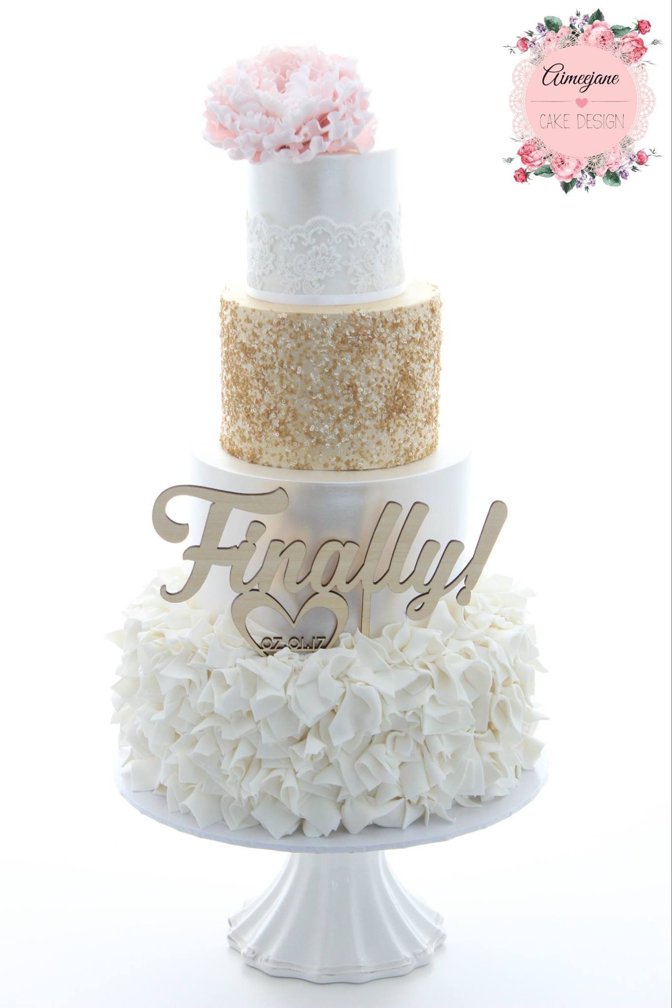 Aimeejane Cake Design Wedding Cake. Lace, sugar peony, texture ...