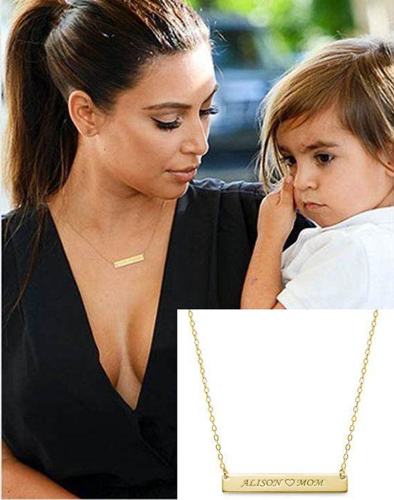 Gold Bar Necklace Nameplate Kim Kardashian Mothers Engraved Etsy In 2020 Gold Bar Necklace Bar Necklace Gold Bar Necklace Personalized