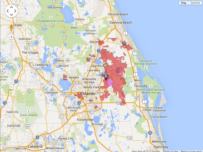 Oviedo Florida Map.Hail Map For Oviedo Florida 05 20 2015 Hail Storm Report Hail Path
