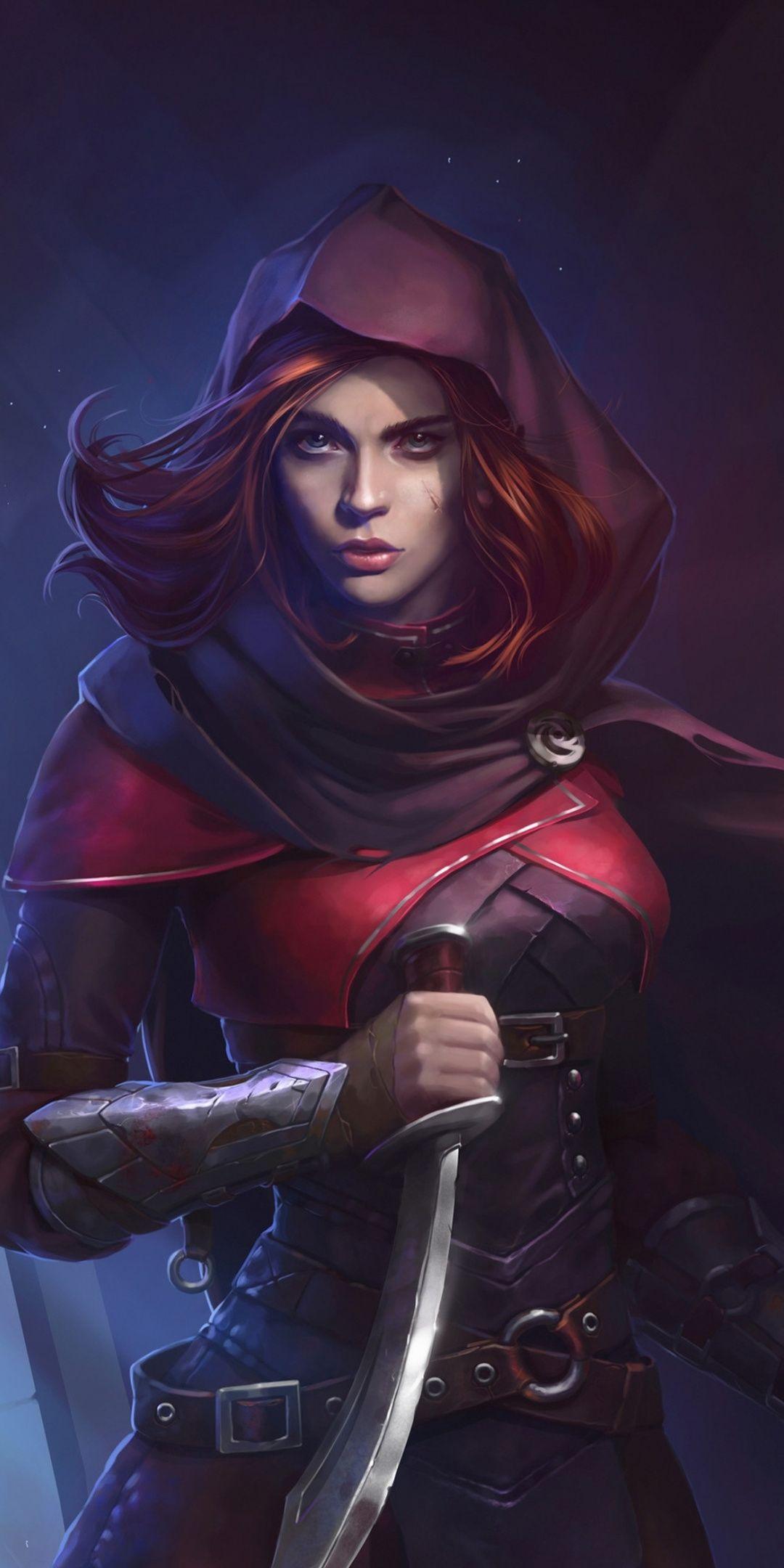 Woman Assassin Beautiful Red Head Illustration 1080x2160 Wallpaper Fantasy Art Women Female Assassin Fantasy Girl