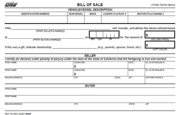 Bill Of Sale Template For Car California In 2021 Bill Of Sale Template Bills Templates