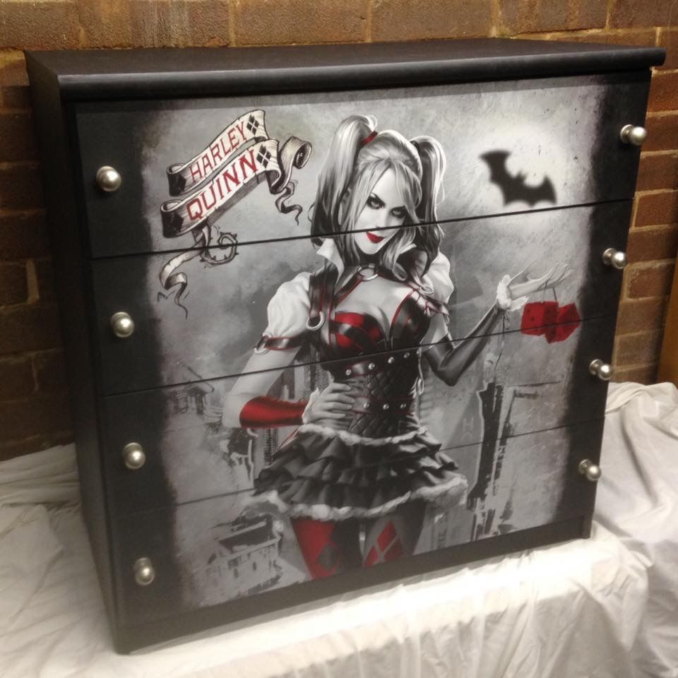 Upcycled Chest Of Drawers. Harley Quinn Poster, Painted Black, Silver Knobs.