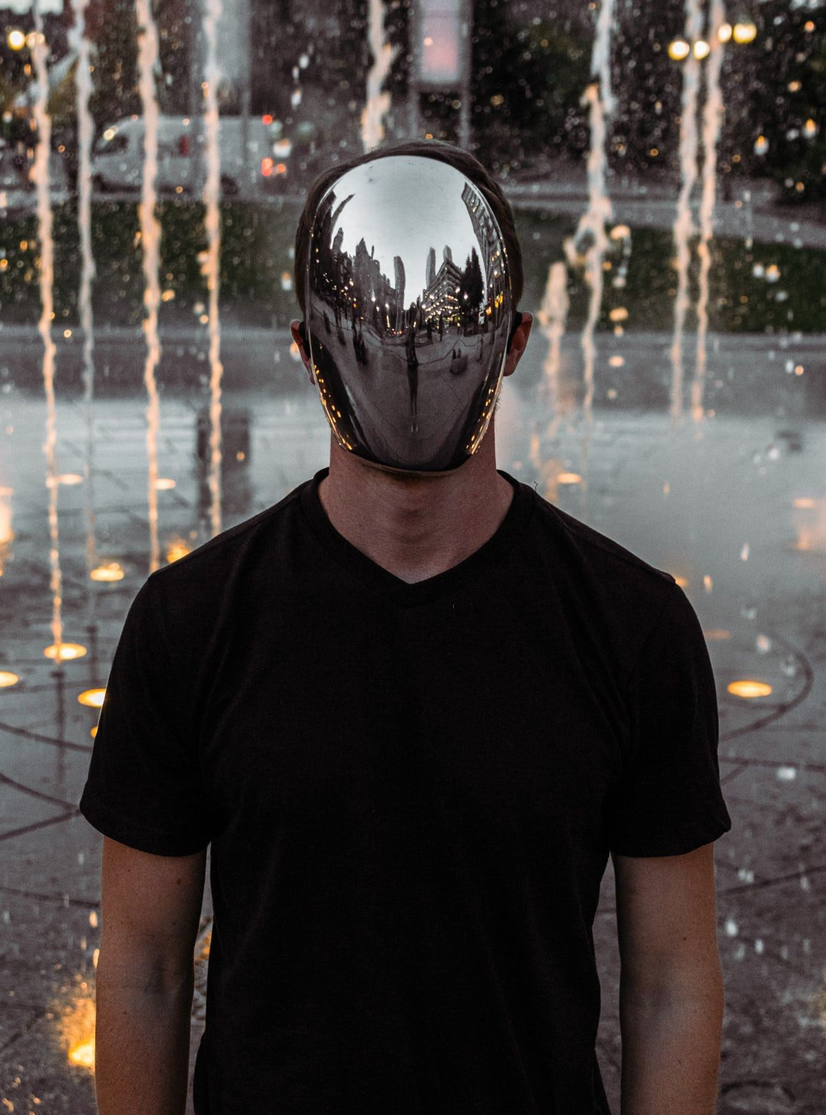 man covering his face standing Fashion mask, Cool masks