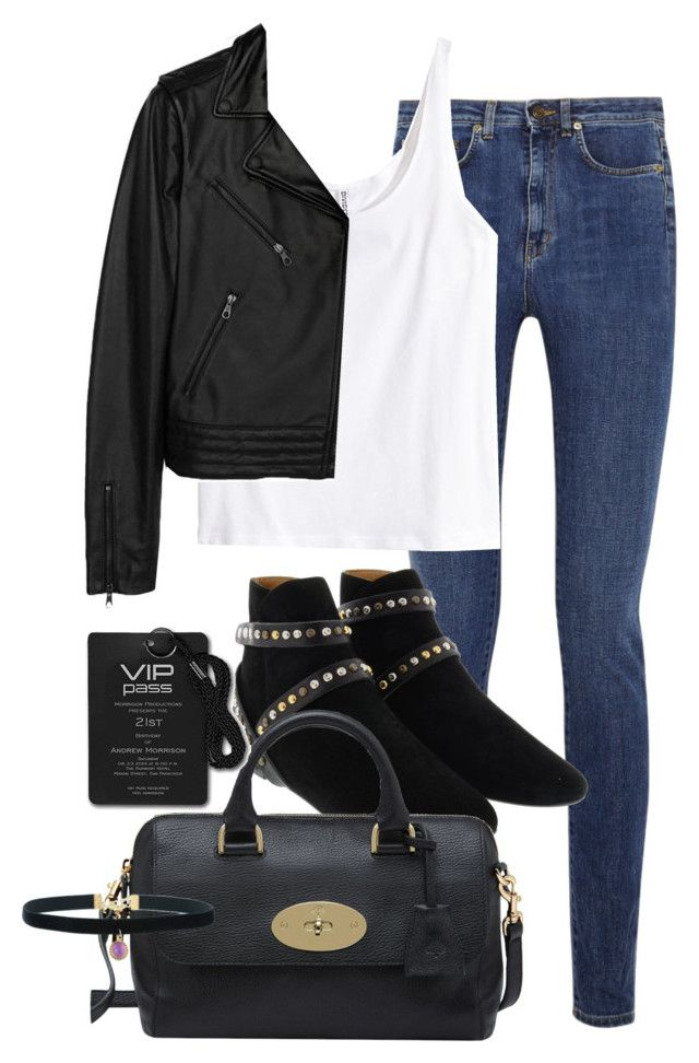"""""""Untitled #1565"""" by beatifuletopshop ❤ liked on Polyvore featuring Yves Saint Laurent, H&M, rag & bone, Étoile Isabel Marant and Mulberry"""