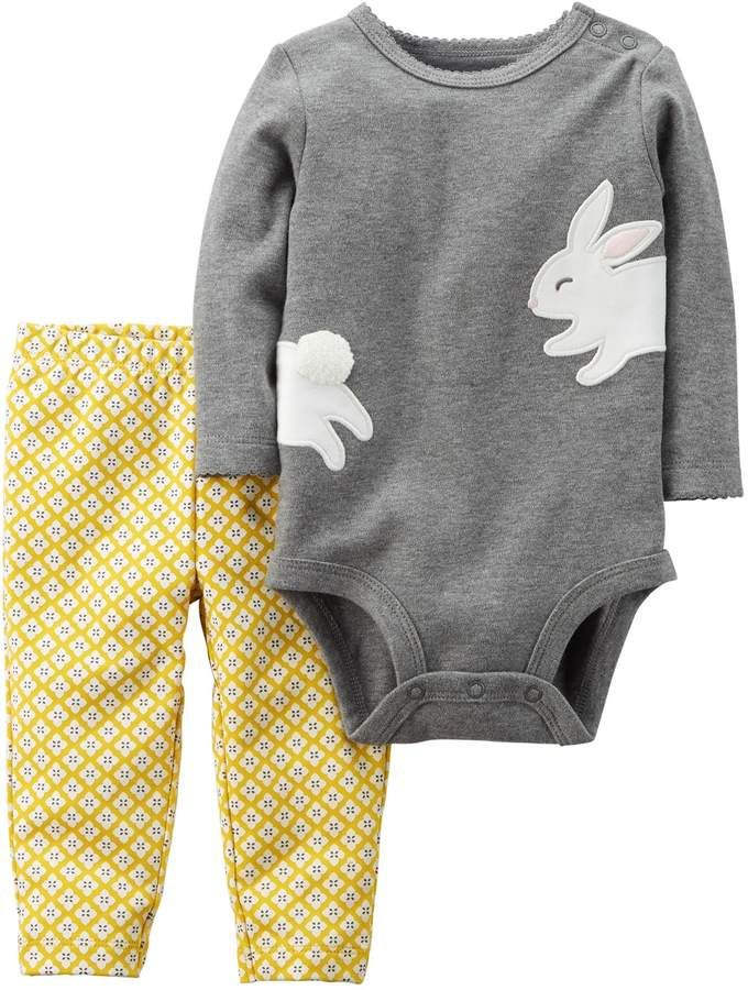 22b80a8bf Carter's Baby Girl Bunny Rabbit Bodysuit & Geometric Print Leggings Set