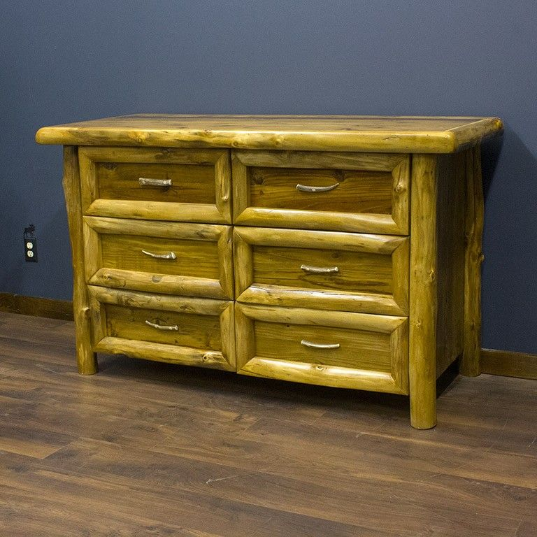 Yukon 6 Drawer Log Dresser Is Mixed With Aspen Logs And Reclaimed Wood Rustic Log Bedroom Furniture Log Bedroom Furniture Furniture Bedroom Furniture