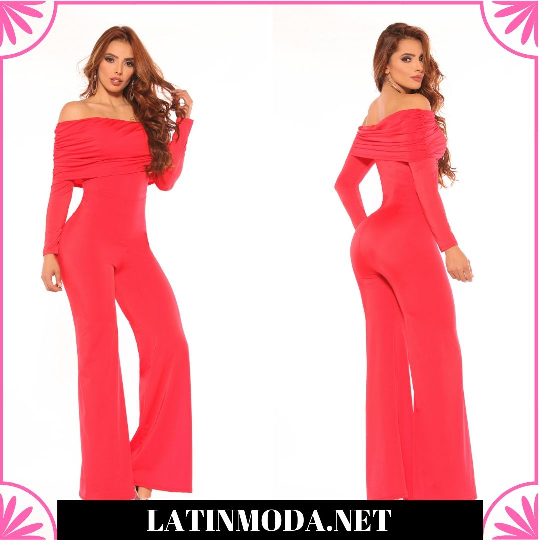 Fantástico Enterizo Colombiano de Moda Hombros Descubierto Color Rojo 39cda79a9e35