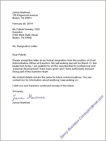 Resignation Letter: | Stuff To Buy | Pinterest | Business Letter