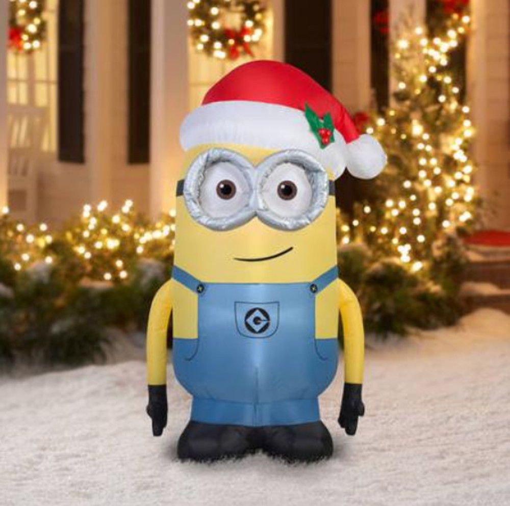 Gemmy inflatable airblown reindeer outdoor christmas decoration lowe - Despicable Me 5 Ft Tall Dave Minion Airblown Christmas Yard Inflatable New