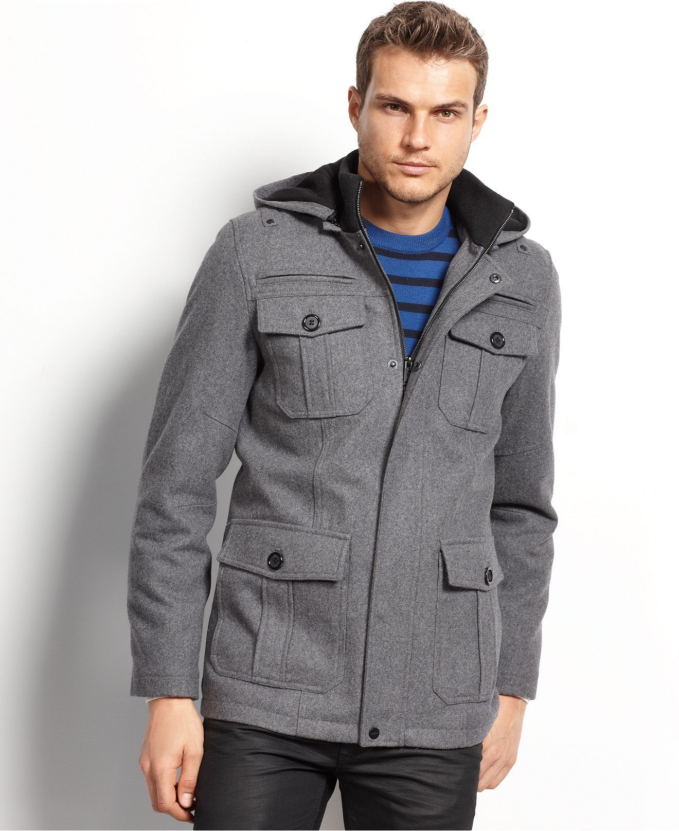 Guess Coats, Military Style Hooded Pea Coat - Mens Coats & Jackets ...