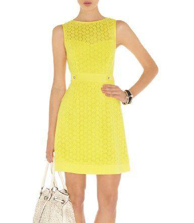 Amazon.com: Noemie Elegant Hollow-out Dress (Yellow): Clothing